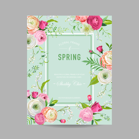 Floral Spring Design Template for Wedding Invitation, Greeting Card, Sale Banner, Poster, Placard, Cover. Spingtime Background with Pink Flowers. Vector illustration