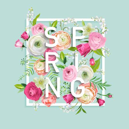Hello Spring Floral Design with Blooming Pink Flowers. Botanical Springtime Background for Decoration, Poster, Banner. Vector illustration 일러스트