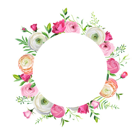 Spring and Summer Floral Frame for Holidays Decoration. Wedding Invitation, Greeting Card Template with Blooming Pink Flowers. Vector illustration