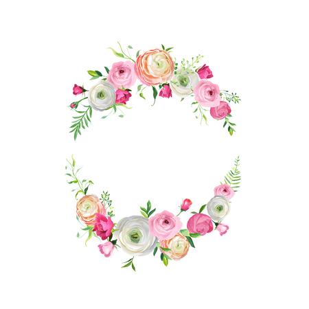 Marco floral de primavera y verano para decoración de vacaciones. Invitación de boda, plantilla de tarjeta de felicitación con flores de color rosa en flor. Ilustración vectorial Ilustración de vector