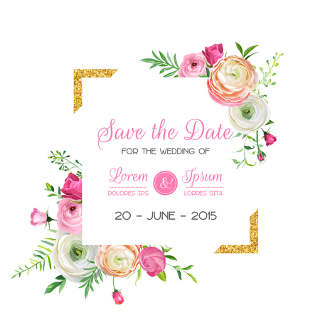 Save the Date Card Template with Golden Glitter Frame and Pink Flowers. Wedding Invitation, Greeting with Floral Ornament. Vector illustration