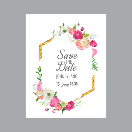 Save the Date Card Template with Gold Glitter Frame and Pink Flowers. Wedding Invitation, Greeting with Floral Ornament. Vector illustration Vectores