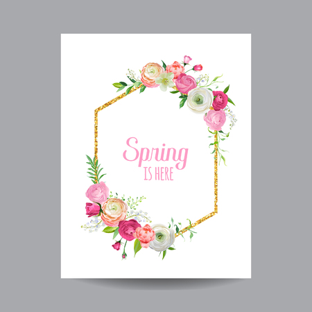 Blooming Spring and Summer Floral Frame with Golden Glitter Border. Watercolor Roses Flowers for Invitation, Wedding, Baby Shower Card in Vector  일러스트