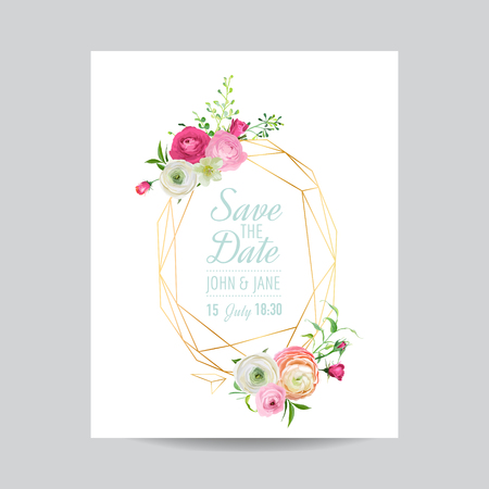 Wedding Invitation Floral Template. Save the Date Golden Frame with Place for your Text and Pink Flowers. Greeting Card, Poster, Banner. Vector illustration 일러스트