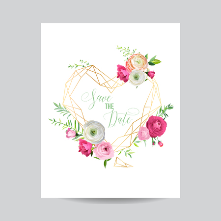 Wedding Invitation Floral Template. Save the Date Heart Frame with Place for your Text and Pink Flowers. Greeting Card, Poster, Banner. Vector illustration Illustration