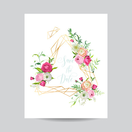 Wedding Invitation Floral Template. Save the Date Golden Frame with Place for your Text and Ranunculus Flowers. Greeting Card, Poster, Banner. Vector illustration