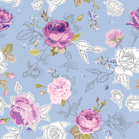 Floral Seamless Pattern with Roses in Sketched Outline Style. Flowers Unfinished Hand Drawn Background for Fabric, Print, Wrapping Paper, Decor. Vector illustration