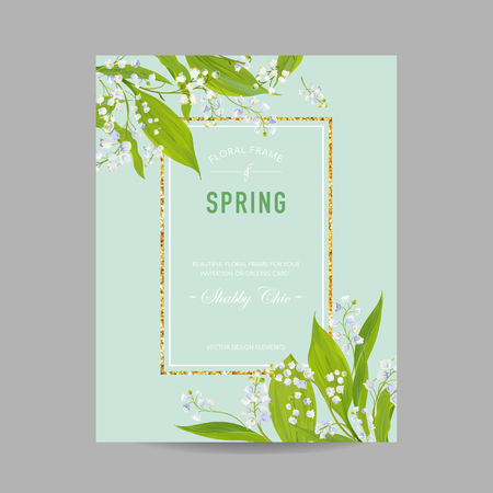 Floral Spring Design Template with Golden Frame for Wedding Invitation, Greeting Card, Sale Banner, Poster, Placard, Cover. Spingtime Background with Lily Flowers. Vector illustration