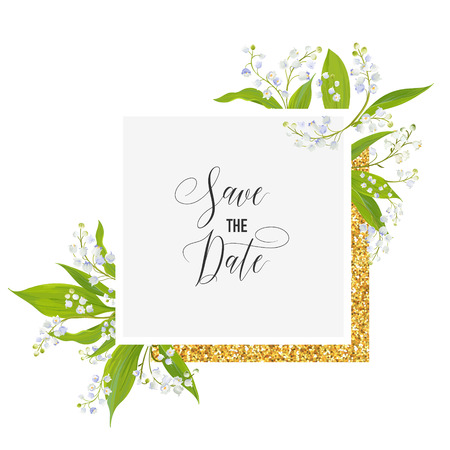 Save the Date Card with Blossom Lily Valley Flowers and Golden Frame. Wedding Invitation, Anniversary Party, RSVP Floral Template. Vector illustration