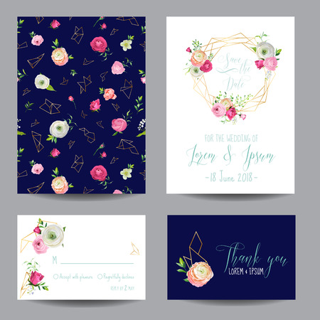 Save the Date Card Set with Blossom Pink Flowers and Golden Elements. Wedding Invitation, Anniversary Party, Decoration, RSVP Floral Template. Vector illustration