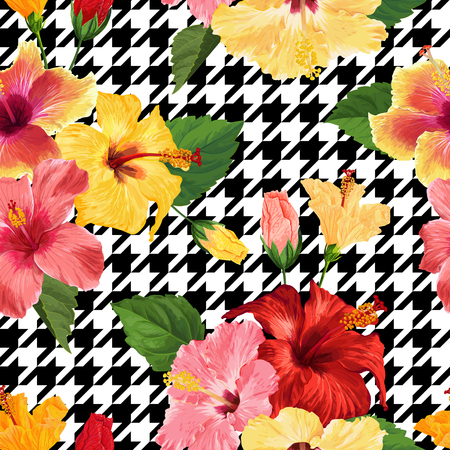 Tropical Hibiscus Flower Seamless Pattern. Floral Geometrical Summer Background for Fabric Textile, Wallpaper, Decor, Wrapping Paper. Watercolor Botanical Design. Vector illustration