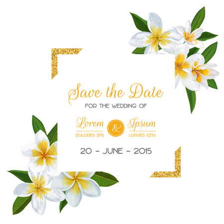Wedding Invitation Template with Plumeria Flowers. Tropical Floral Save the Date Card. Exotic Flower Romantic Design for Greeting Postcard, Birthday, Anniversary. Vector illustration