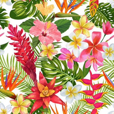 Watercolor Tropical Flowers and Palm Leaves Seamless Pattern. Floral Hand Drawn Background.