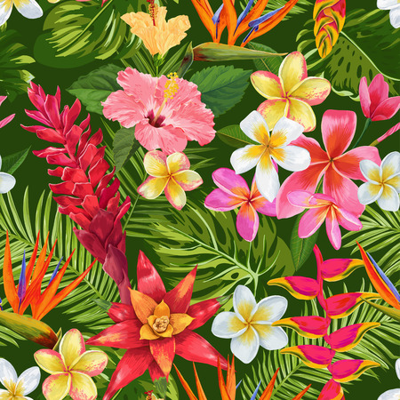 Watercolor Tropical Flowers and Palm Leaves Seamless Pattern.