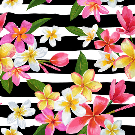 Watercolor Tropical Flowers Seamless Pattern with black and white stripes background