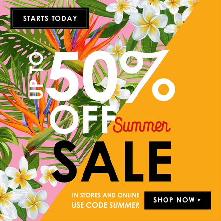 Summer Sale Floral Banner Seasonal Discount Advertising with White Plumeria Flowers.