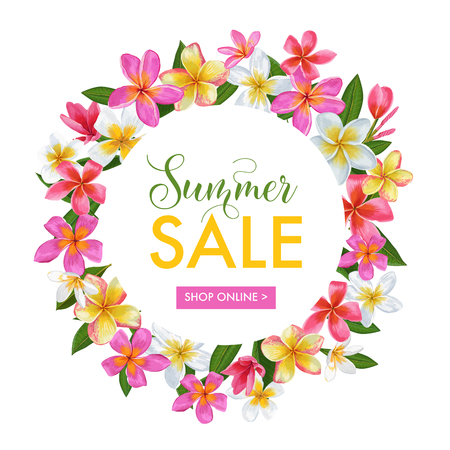 Summer Sale Floral Banner. Seasonal Discount Advertising with Pink Plumeria Flowers.