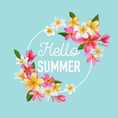 Summertime Floral Poster with text hello summer 일러스트