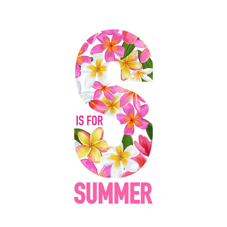 S for Summer banner with pink and yellow flowers vector illustration