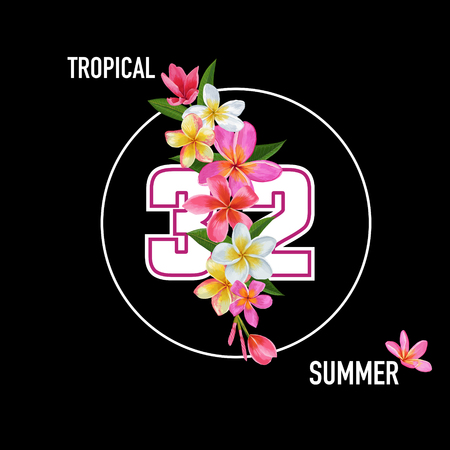 Summertime Floral Poster. Tropical Plumeria Flowers Design for Banner, Flyer, Brochure, Fabric Print. Vintage Hello Summer Watercolor Botanical Background. Vector illustration