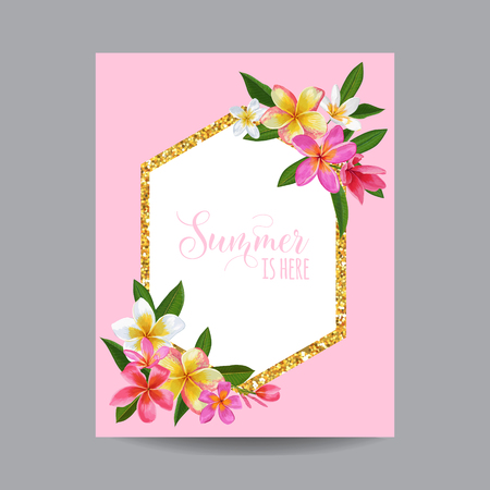 Summertime Floral Poster as frame of text vector illustration 일러스트
