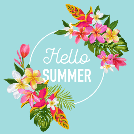 Hello Summer Floral Poster. Tropical Exotic Flowers Design for Sale Banner, Flyer, Brochure, T-shirt, Fabric Print. Summertime Watercolor Background. Vector illustration