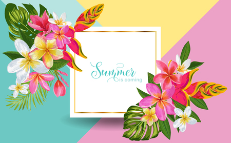 Hello Summer Floral Poster. Tropical Exotic Flowers Design for Sale Banner, Flyer, Brochure, Certificate, Fabric Print. Summertime Watercolor Background. Vector illustration 일러스트