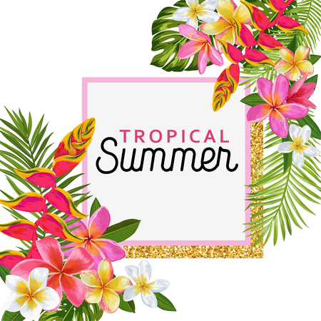 Hello Summer Floral Poster with Golden Frame. Tropical Exotic Flowers Design for Sale Banner, Flyer, Brochure, Fabric Print. Summertime Watercolor Background. Vector illustration