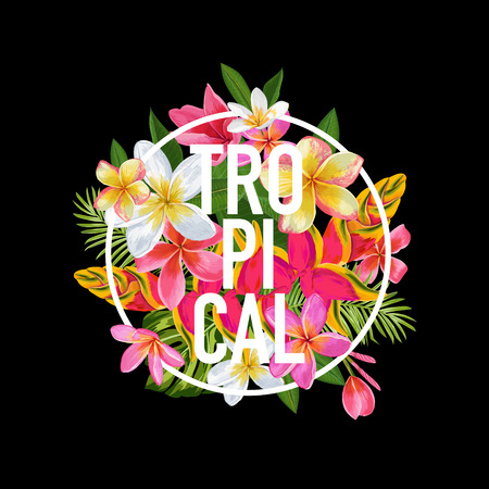 Tropical Floral Design for T-shirt, Fabric Print. Exotic Flowers Poster, Background, Banner. Beach Vacation Tropic Graphic. Vector illustration