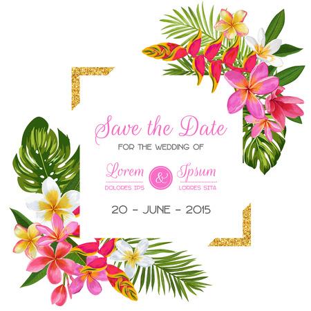 Plantilla de invitación de boda con flores. Reserva floral tropical la tarjeta de fecha. Diseño romántico de flores exóticas para postal de felicitación, cumpleaños, aniversario. Ilustración vectorial