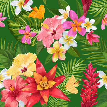 Watercolor Tropical Flowers Seamless Pattern. Floral Hand Drawn Background. Exotic Blooming Plumeria Flowers Design for Fabric, Textile, Wallpaper. Vector illustration 일러스트