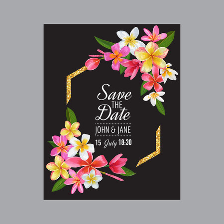Wedding Invitation Template with Pink Plumeria Flowers. Tropical Floral Save the Date Card. Exotic Flower Romantic Design for Greeting Postcard, Birthday, Anniversary. Vector illustration 일러스트