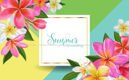 Summertime Floral Poster. Tropical Plumeria Flowers Design for Sale Banner, Flyer, Brochure, Fabric Print. Hello Summer Watercolor Botanical Background. Vector illustration