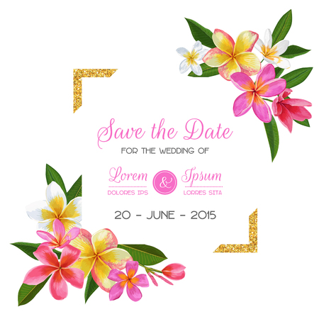 Wedding Invitation Template with Pink Plumeria Flowers. Tropical Floral Save the Date Card. Exotic Flower Romantic Design for Greeting Postcard, Birthday, Anniversary. Vector illustration Иллюстрация