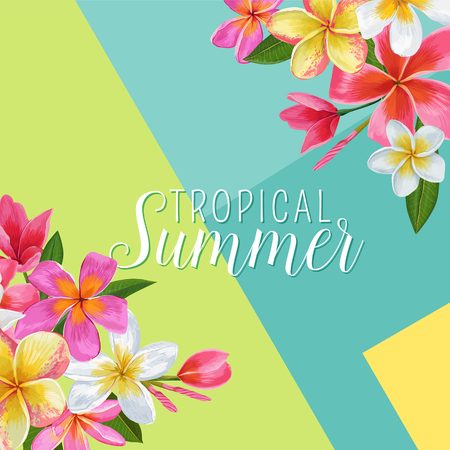 Summertime Floral Poster. Tropical Exotic Plumeria Flowers Design for Banner, Flyer, Brochure, Fabric Print. Hello Summer Watercolor Background. Vector illustration