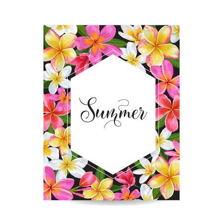 Summertime Floral Poster. Tropical Plumeria Flowers Design for Invitation, Banner, Flyer, Brochure. Hello Summer Watercolor Botanical Card. Vector illustration 일러스트