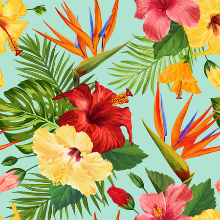 Watercolor Tropical Flowers Seamless Pattern. Floral Hand Drawn Background. Exotic Blooming Flowers Design for Fabric, Textile, Wallpaper. Vector illustration 일러스트