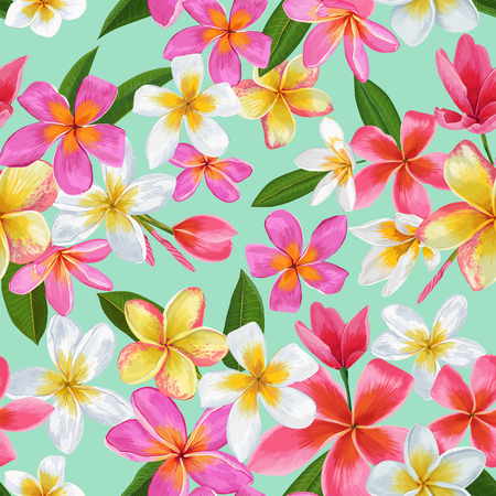 Watercolor Tropical Flowers Seamless Pattern. Floral Hand Drawn Background. Exotic Plumeria Flowers Design for Fabric, Textile, Wallpaper. Vector illustration