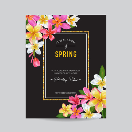 Blooming Spring and Summer Floral Frame. Watercolor Tropical Plumeria Flowers for Invitation, Wedding, Baby Shower Card. Vector illustration 일러스트