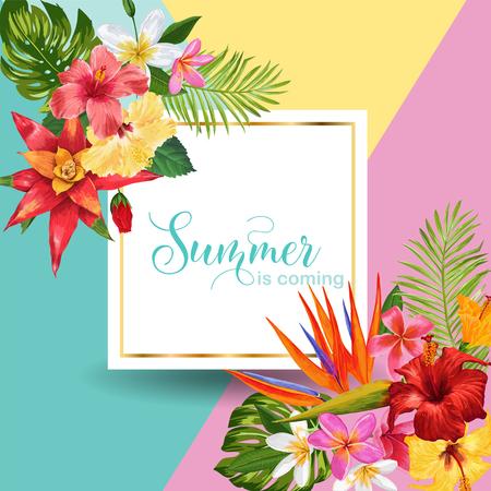 Hello Summer Tropic Design. Tropical Hibiskus Flowers Background for Poster, Sale Banner, Placard, Flyer. Floral Vintage Composition. Vector illustration