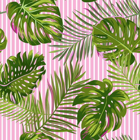 Tropical Palm Leaves Seamless Pattern. Watercolor Floral Background. Exotic Botanical Design for Fabric, Textile, Wallpaper, Wrapping Paper. Vector illustration 일러스트