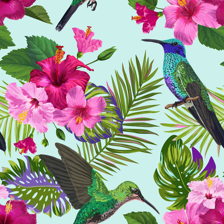 Tropical Seamless Pattern with Hummingbirds, Exotic Hibiskus Flowers and Palm Leaves. Floral Background with Colibri Birds for Fabric, Textile, Wallpaper. Vector illustration 일러스트