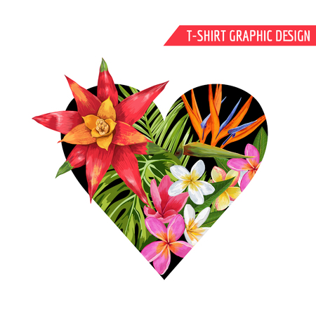 Love Romantic Floral Heart Spring Summer Design with Pink Plumeria Flowers for Prints, Fabric, T-shirt, Posters. Tropical Botanical Background for Valentines Day. Vector illustration