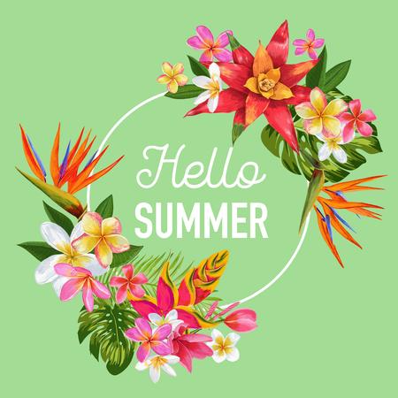 Hello Summer Tropic Design. Tropical Flowers Background for Poster, Sale Banner, Placard, Flyer. Floral Vintage Composition. Vector illustration 일러스트