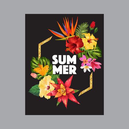 Hello Summer Tropic Design with Golden Frame. Tropical Hibiskus Flowers Background for Poster, Sale Banner, Placard, Flyer. Floral Vintage Composition. Vector illustration 일러스트