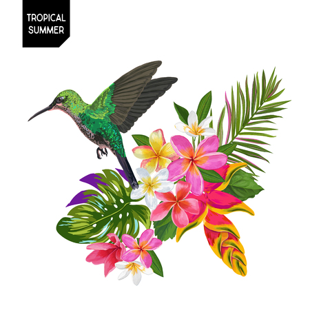 Summer Tropical Design with Hummingbird and Exotic Flowers. Floral Background with Tropic Bird, Plumeria and Palm Leaves. Vector illustration 일러스트