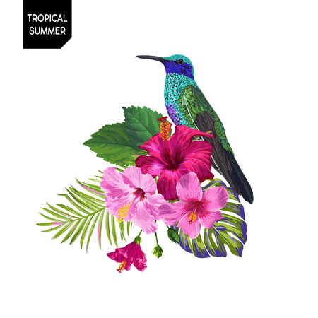 Summer Tropical Design with Hummingbird and Exotic Flowers. Floral Background with Tropic Bird, Hibiskus and Palm Leaves. Vector illustration