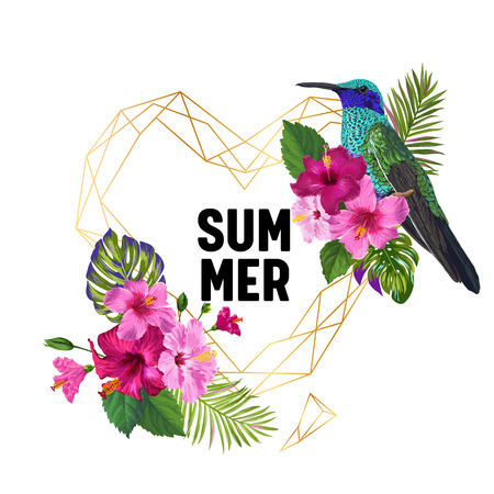 Summer Tropical Design with Hummingbird and Exotic Flowers. Floral Background with Golden Frame, Tropic Bird, Hibiskus and Palm Leaves. Vector illustration