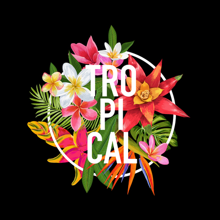 Tropical Floral Design for T-shirt, Fabric Print. Exotic Plumeria Flowers Poster, Background, Banner. Beach Vacation Tropic Graphic. Vector illustration