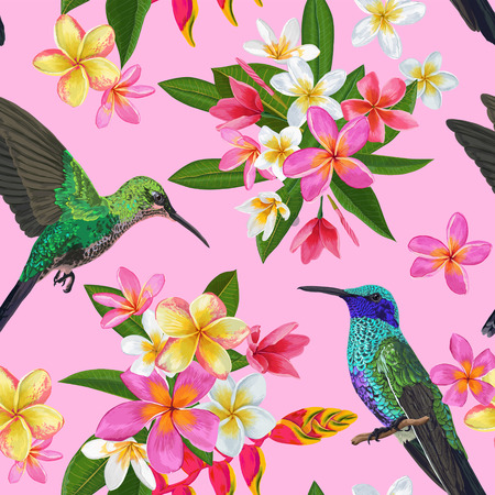Floral Tropical Seamless Pattern with Exotic Flowers and Humming Bird. Blooming Plumeria Flowers, Birds and Palm Leaves Background for Fabric, Wallpaper, Textile. Vector illustration